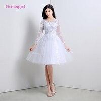 Lace Vestido De Noiva 2018 Beach Wedding Dresses A Line V Neck 3 4 Sleeves Knee