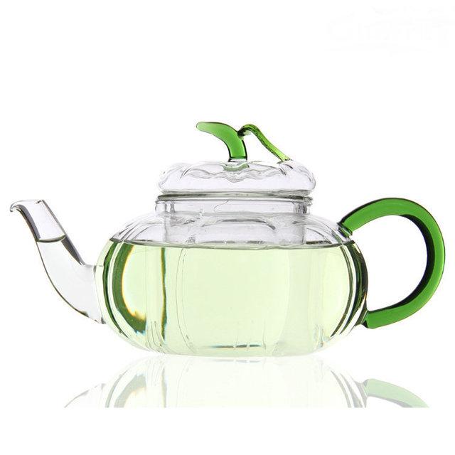 New Heat-resistant Glass Tea Pot Creative Green Leaves Pumpkin Pot Thick Teapot With Filter Flower Water Kettle