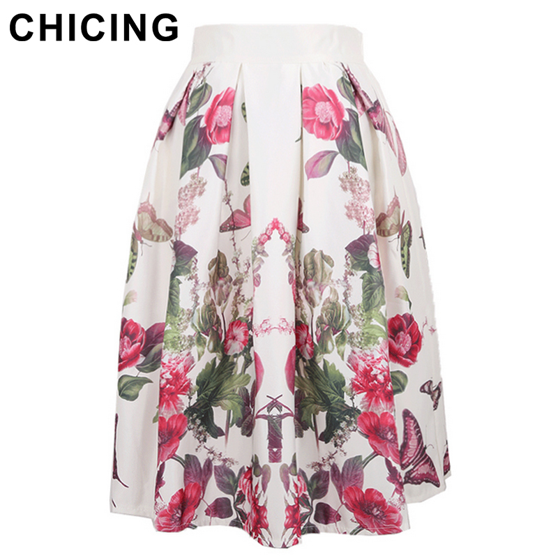 f26f47b9dc CHICING Fashion 2016 Summer Vintage Stain Floral Print Ball Gown Pleated  High Waist Tutu Midi Skater