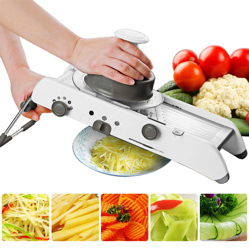 Mandoline Slicer Manual Vegetable Cutter Profesional Parutan dengan Adjustable 304 Stainless Steel Blades Sayuran Dapur Alat