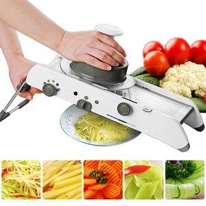 Image 1 - מנדולינה מבצע ידני ירקות חותך מקצועי פומפייה עם מתכוונן 304 נירוסטה להבי ירקות מטבח כלי