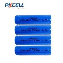 4 шт. * PKCELL 14500 Батарея 3.7 В 750 мАч литий-ионный Батарея ICR14500 3.7 вольт AA Перезаряжаемые Батарея baterias для светодиодный фонарик