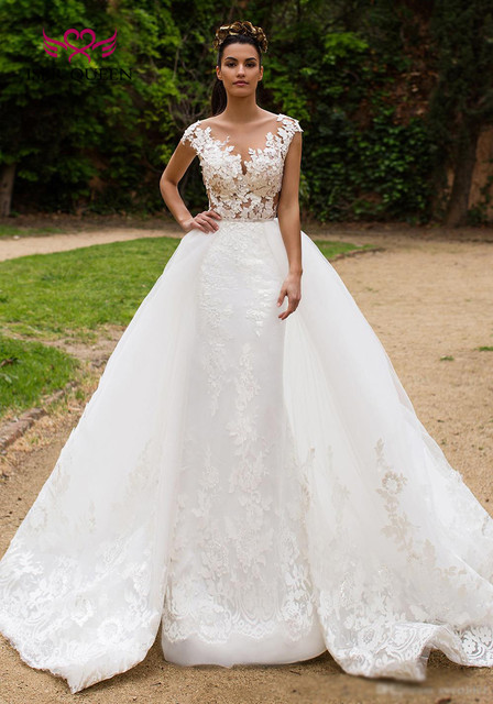 Detachable Train 2 in 1 New Design Illusion Back Sheer Neck Israel Mermaid Wedding Dress Bride Dress Wedding Gowns  W0326