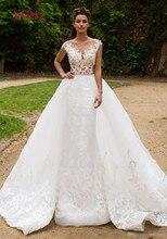 Illusion Terug Sheer Hals Israël Mermaid Wedding Dress Afneembare Trein 2 in 1 Nieuwe Ontwerp Bruid Jurk 2019 Bruidsjurken w0326