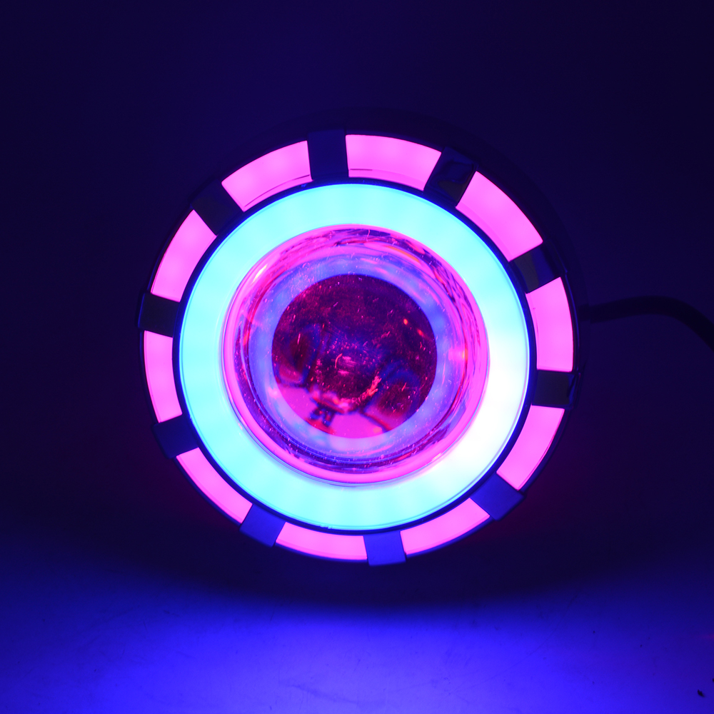 CSS Motorcycle Projector Headlight Double Angel Devil Eye Led Driving Light With Pink and Blue 30W 1200Lm 200000H(Pink and Blu