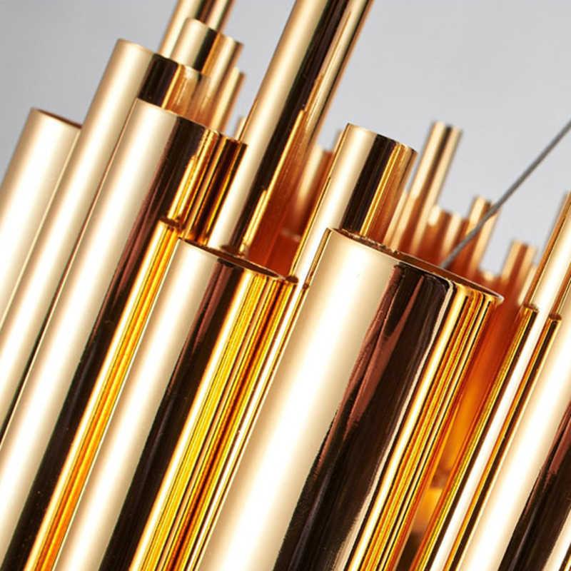 Luz colgante de tubo de aluminio dorado de diseño moderno con diseño italiano, Lustres de iluminación Delightfull, luz Led de proyecto