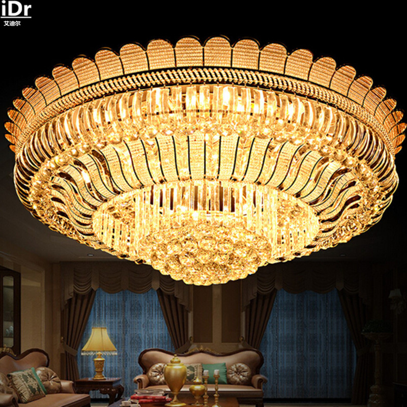New S Gold Circular Crystal Lamp Luxury LED Living Room Bedroom Ideas High Quality Ceiling Lights