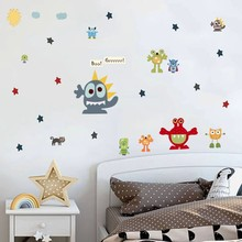 Funny Monsters Wall Decals For Play Room Nursery Art Decor  Green,Blue, Yellow, Red, Orange Wall Stickers For Kids Room