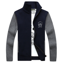 Casual Cardgian Men Computer Knit Patchwork Casual Man Sweater Stand Collar Jackets M-XXXL Perfect Stitched Logo Man Coats