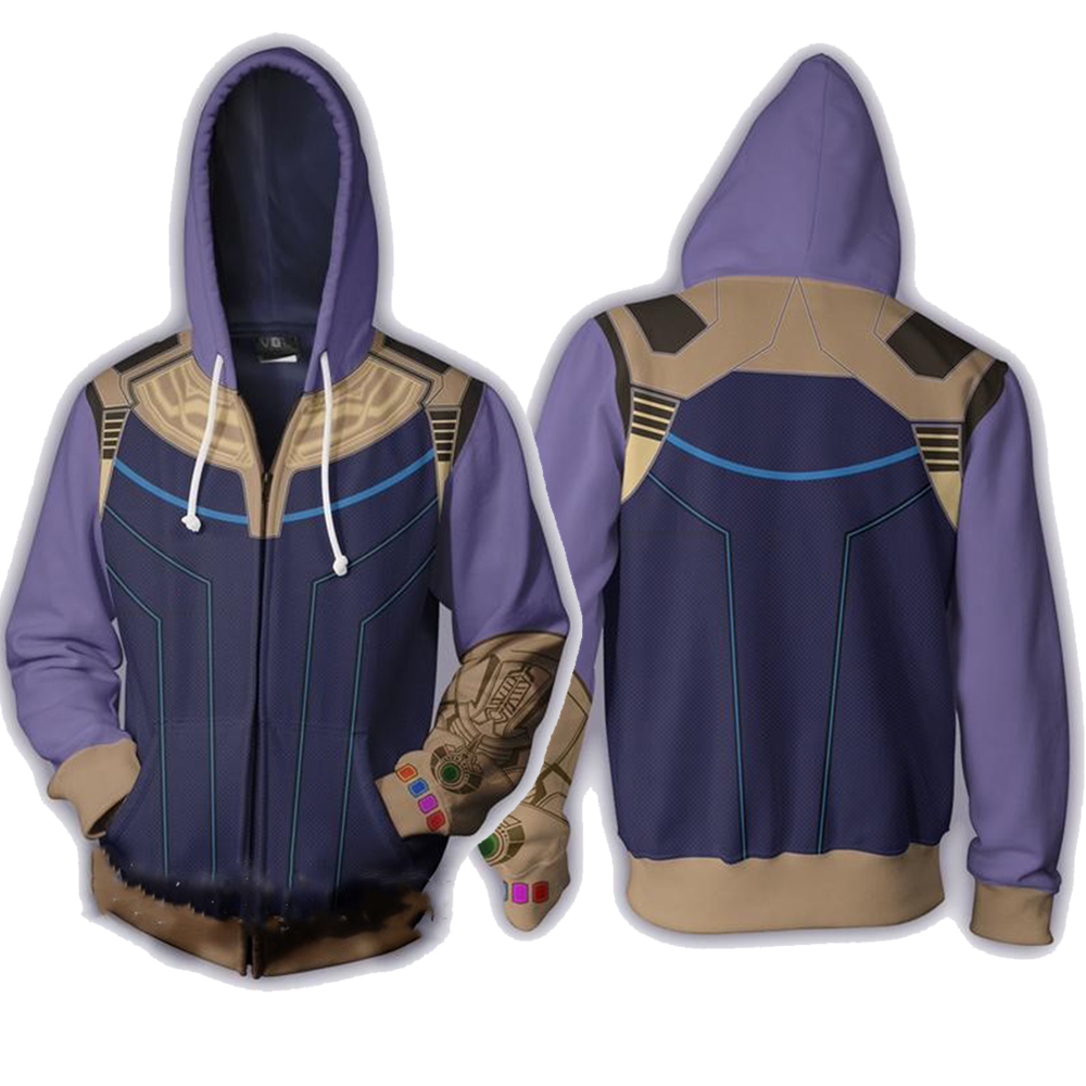 Avengers: Infinity War Thanos Hoodie  Cosplay Super Hero Costume 3D Printed Jacket Hooded Sweatshirt Coat