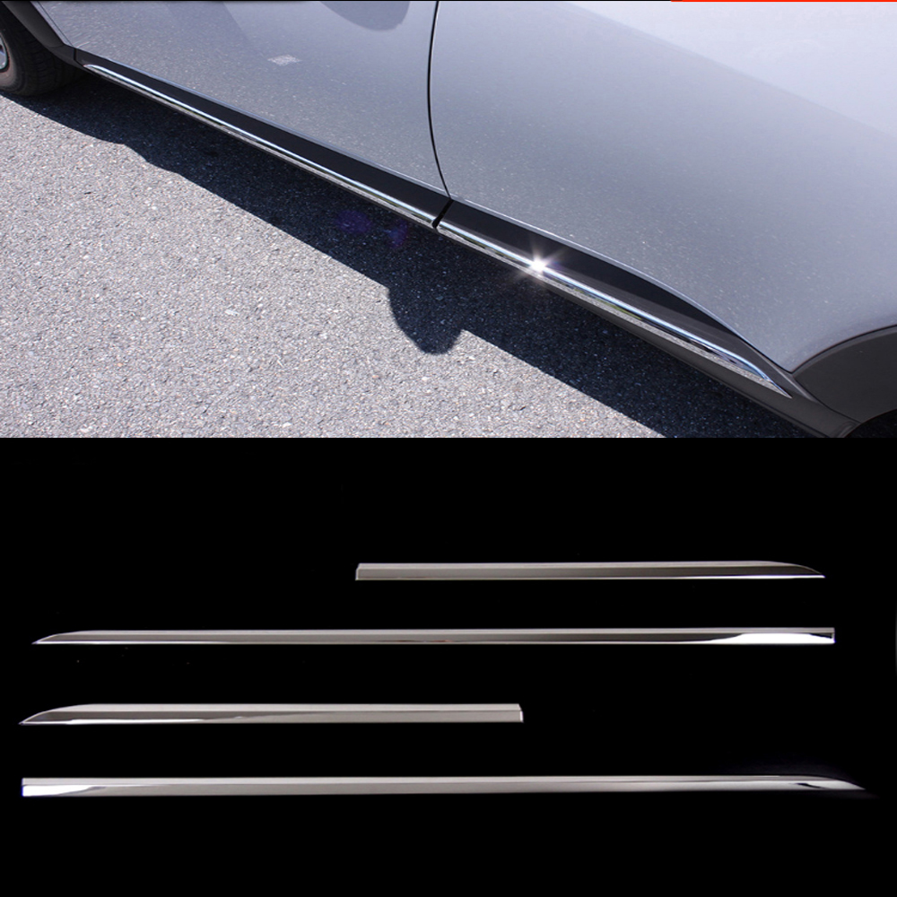 ACCESSORIES FIT FOR 2016 2017 Mazda CX-3 CX 3 CX3 CHROME ABS DOOR SIDE LINE GARNISH BODY MOLDING COVER PROTECTOR TRIM accessories fit for 2015 2016 lexus nx 200t 300h chrome side door line garnish body molding cover trim