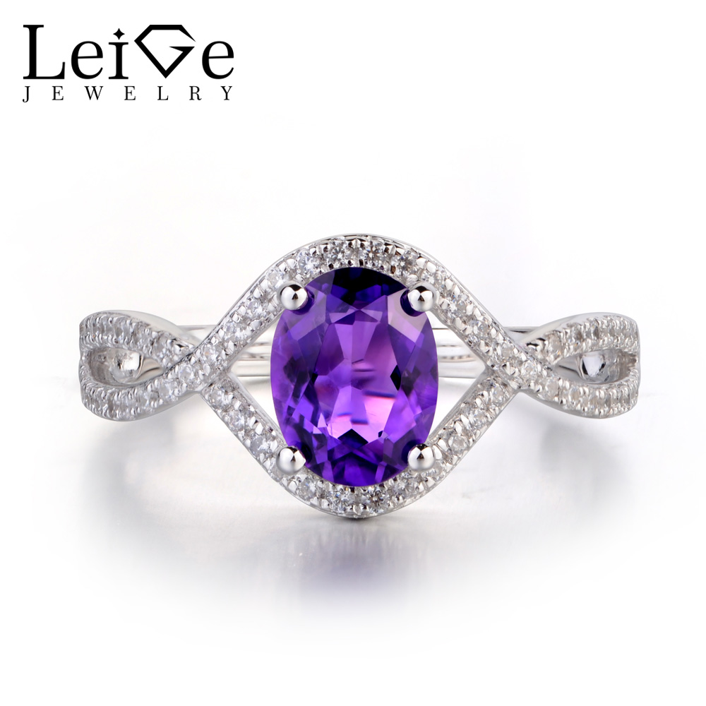 Leige Jewelry Natural Amethyst Ring For Women Oval Cut Wedding Engagement Rings Sterling Silver 925 Fine Jewelry Purple GemstoneLeige Jewelry Natural Amethyst Ring For Women Oval Cut Wedding Engagement Rings Sterling Silver 925 Fine Jewelry Purple Gemstone