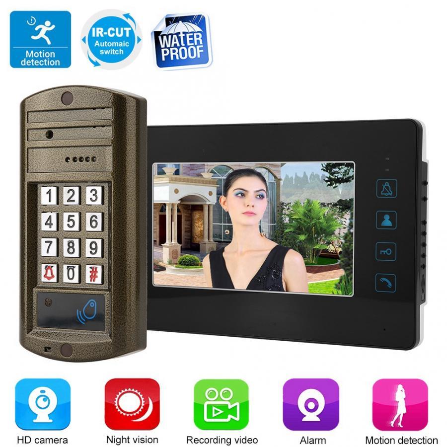110 240V 7inch HD Screen Wired Doorbell Video Infrared Intercom Door Bell waterproof no battery motion sensor bell in Doorbells from Home Improvement