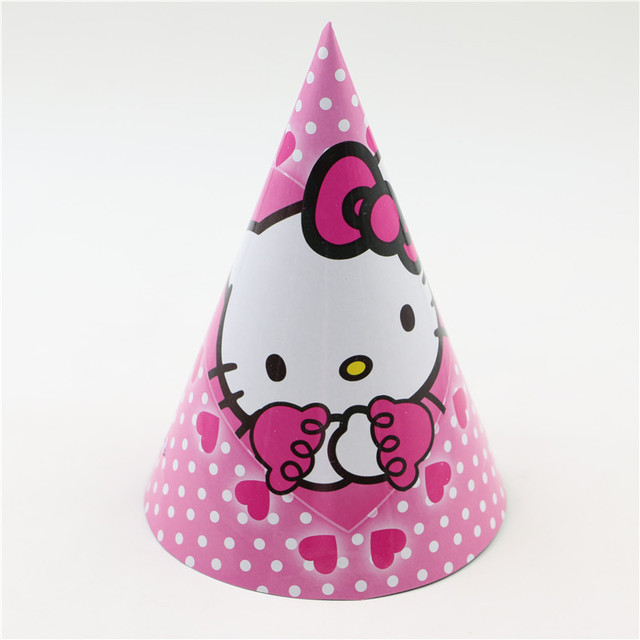 12pcs Lot Hello Kitty Theme Happy Birthday Cap For Party Supplies Kids EventParty Decoration