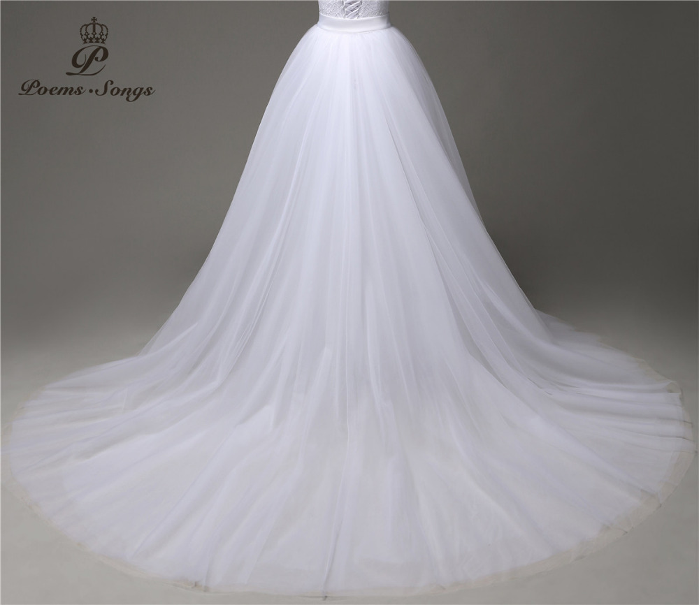 Poemssongs custom made high quality only sale  silky organza detachable train  not included wedding dress