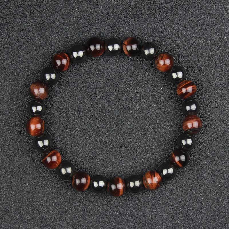 fashion men's 8 mm round hematite beads and natural tiger eyes beads  bracelet  HB1018