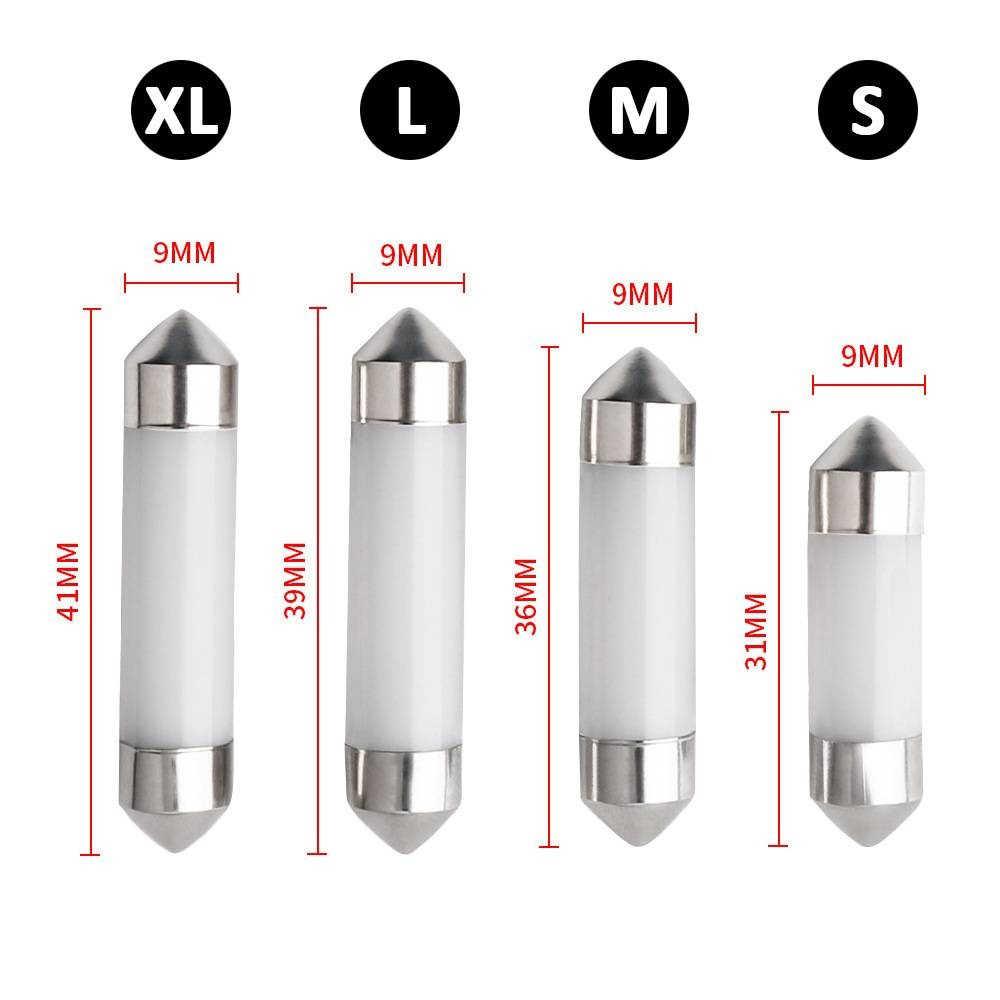 1PC 360 degrés filament LED verre coquille voiture lumière Festoon 31mm 36mm 39mm 41mm intérieur lecture dôme lampe Auto plaque d'immatriculation ampoule