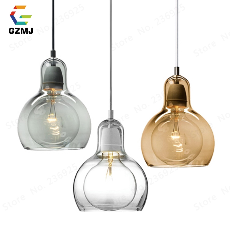 GZMJ Modern Brief LED Pendant Lights Transparent/Gray/Abmer Glass Ball Bedroom Hanglamp E27 Living Room Dining Room Hanging Lamp