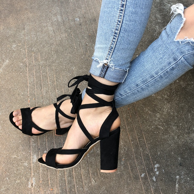 2018 Women Suede Block heel Sandals Pumps Lace Up Chunky Sandals Thick heeled Woman Summer Shoes Slippers цены онлайн