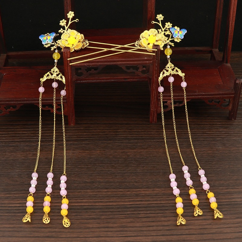 Luxury Chinese Bridal Golden Costume Headdress Vintage Hairpin Ornament Jewelry Hair Accessories 3