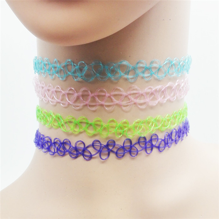 13 colors Hot Selling Vintage Stretch Tattoo Choker Necklace Gothic Punk Grunge Henna Elastic with Choker Necklaces (16)