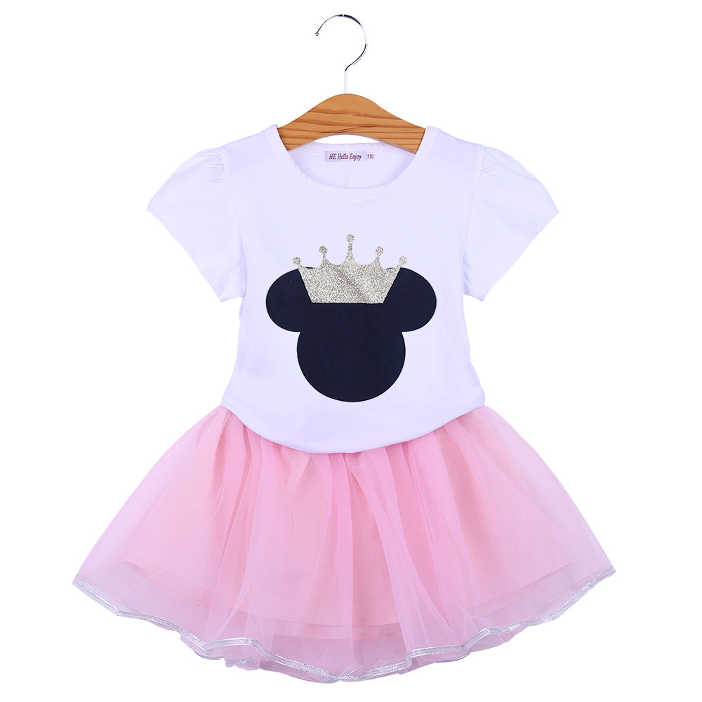 BOTEZAI Kids's Clothes Women Cartoon Mickey Minnie Quick Sleeves Bow Sequins Tops+Web yarn Costume Vogue Garments For Children Clothes Units, Low-cost Clothes Units, BOTEZAI Kids's Clothes Women Cartoon Mickey...