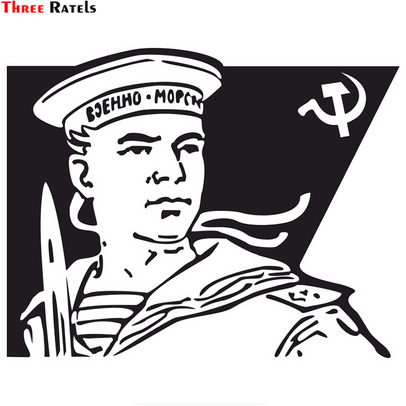 Three Ratels TZ-1734#  15x18.8cm The Russian Navy  Car Stickers Funny Car Sticker Auto Decals