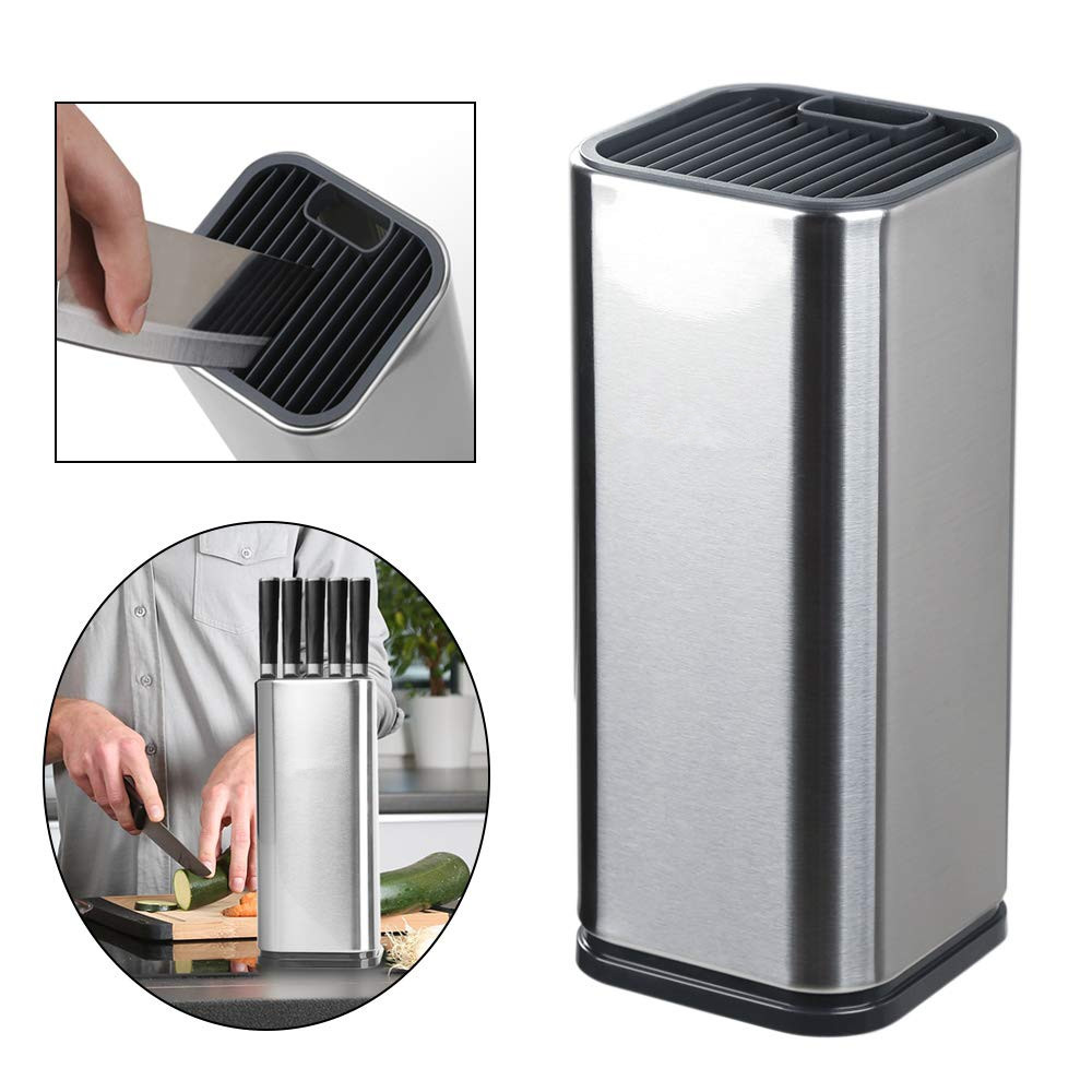 LMETJMA Universal Knife Block Stainless Steel Knife Holder With Slots For Scissors And Sharpening Rod Space Saver KC0285