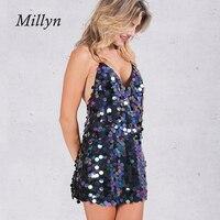 Shinny millyn backless v neck sparkle halter kobiety olśniewająca slip dress-line wieczorne party dress lato mini lady plaża sundress