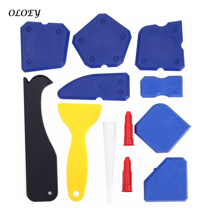 12pcs Door Silicone Sealant Spreader Spatula Scraper Cement Caulk Removal Tool Kit Window Caulking Finishing Sealant Grout
