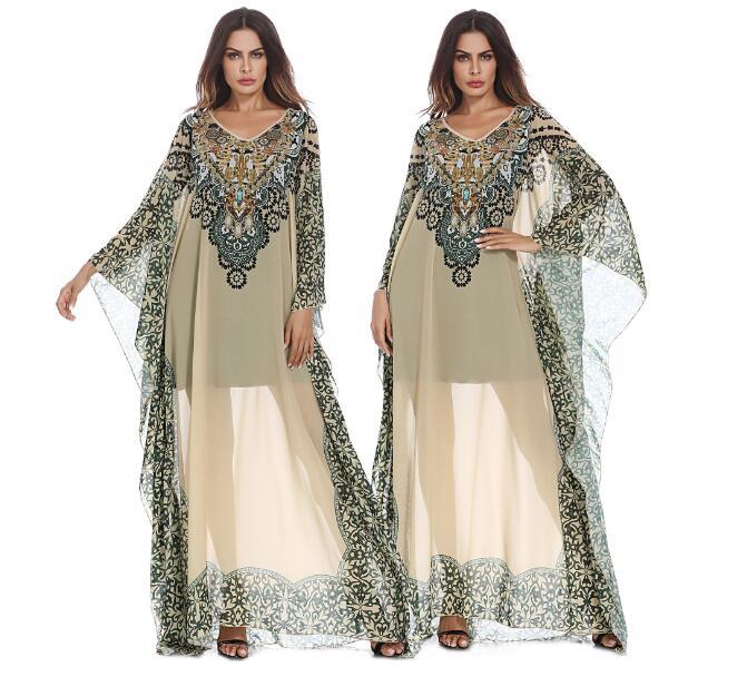 Femmes grande taille femmes moyen-orient arabe imprimé ethnique robe femme Bandage fête robes de bal robes Sarafan