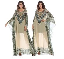 Womens Plus Size Middle Eastern Arab Ethnic Print Dress Female Bandage Party Prom Gowns Sarafan Dresses