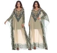 Women's Plus Size Women's Middle Eastern Arab Ethnic Print Dress Female Bandage Party Prom Gowns Sarafan Dresses
