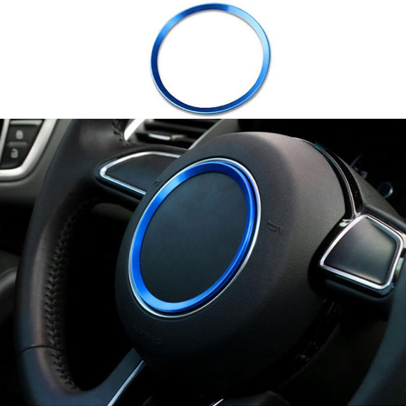 1Pcs New Aluminum Alloy Silvery Ring Auto Steering Wheel Center Decorations Ring