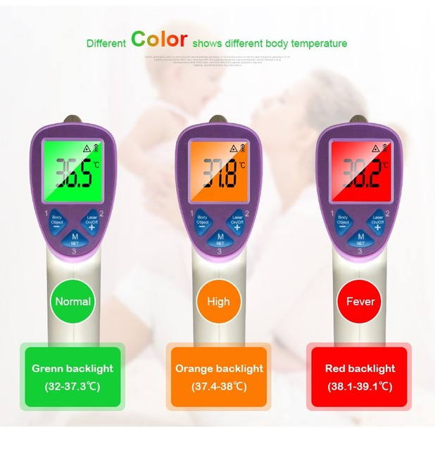 protable Digital Laser Non-contact  Infrared Thermometer with voice