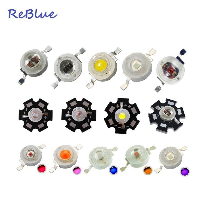 ReBlue 3W Led Diode 5W Power Led Chip Led Diode 1W 3W 5W On 20mm Star PCB Heatsink Diy Lamp Diode 660nm UV 365nm IR 850nm Bead