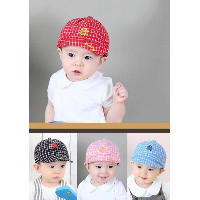 Summer Unisex Baby Caps Lovely Kids Embroidered Plaid Printing Baseball Cap  Children Adjustable Cotton Sun Hat 75912d1ec648