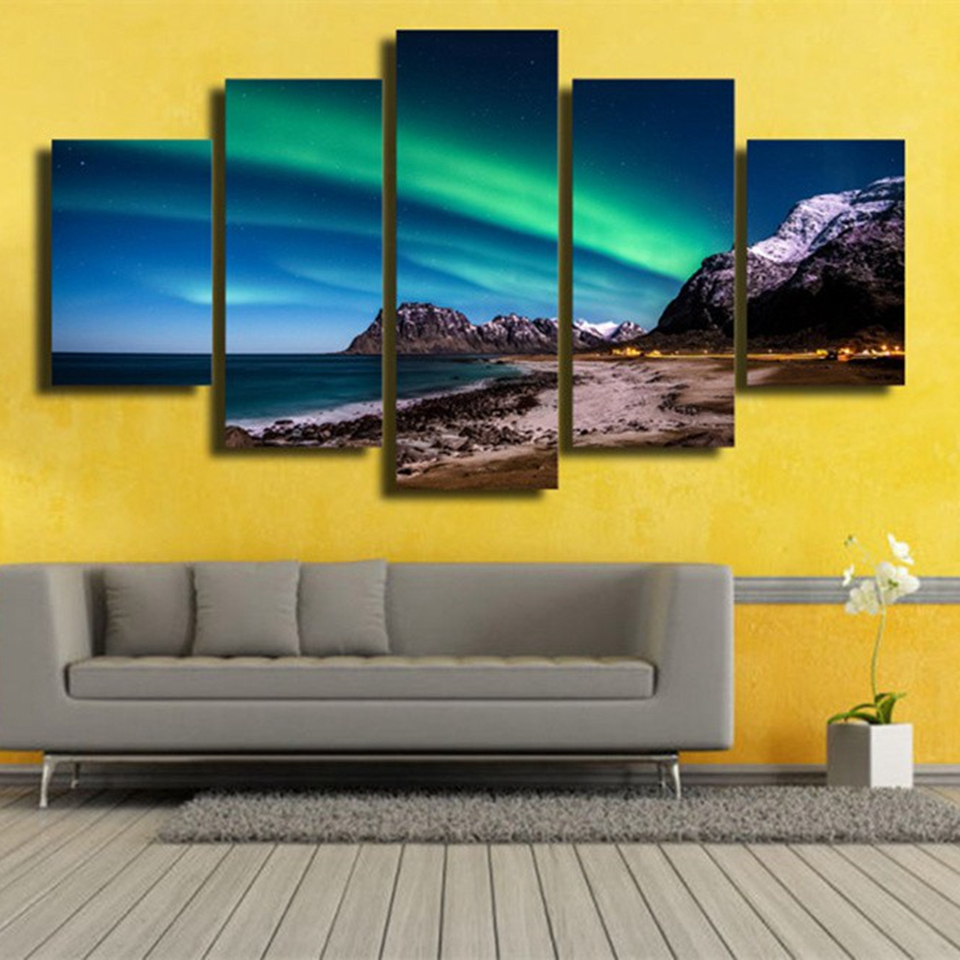 Modern Canvas Picture HD Printed Wall Art Framework 5 Pieces Aurora ...