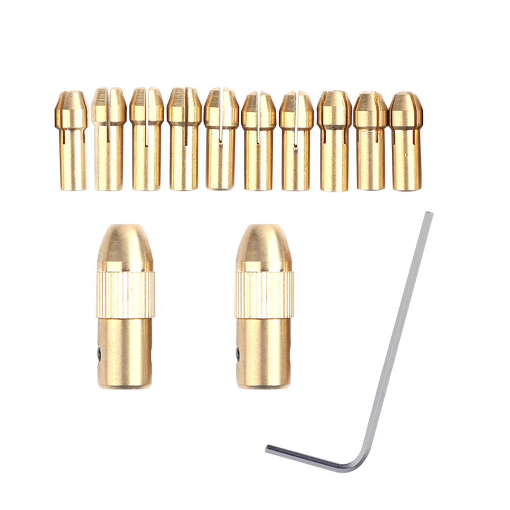 2017 New 2Pcs Drill Collet +10pcs 0.5-3.22mm Micro Twist Hand Drill Kit Chuck Electric Drill Bit  Collet Clamp MFBS high quality at the best price 10 unids set 0 5 3 2 mm drill bit collet micro small electric twist drill chuck