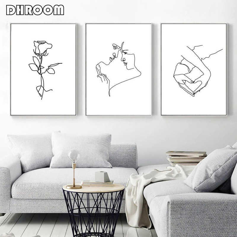 Love Couple Minimalist Wall Art Hand Heart Canvas Art Painting Woman Poster Line Drawing Female Artwork Romantic Art Decoration