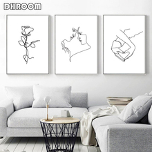 Love Couple Minimalist Wall Art Hand Heart Canvas Painting Woman Poster Line Drawing Female Artwork Romantic Decoration