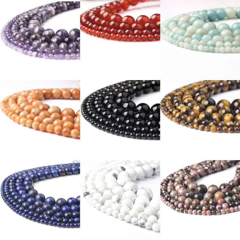 LanLi  Fashiont Jewelry 4/6/8/10/12mm natural stones Loose Beads series DIY men and women Bracelet Necklace anklet Accessories