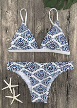 Sexy Ladies White Floral Halter Thong Biquini Swimsuit Swim Beach Wear Bathing Suit Swimwear Women Brazilian Push Up Bikini