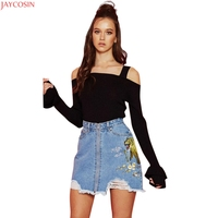 JAYCOSIN 2017 Autumn Winter off The Shoulder Women Sweater Criss-Cross Knitted Pullover Flare Sleeve Sexy Female Knit Tops