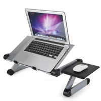 Adjustable Laptop Standing Desk With Mouse Pad & Cooling Fan Portable Bed Sofa Notebook Desk Folding Table For Office