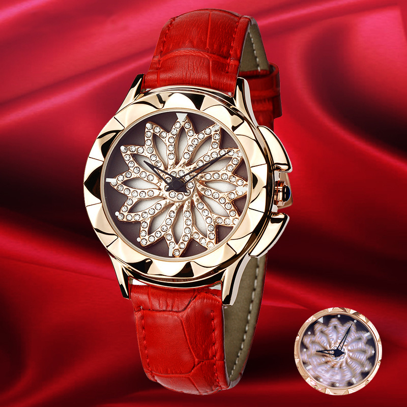 New Rose Gold Watch Woman Quartz Watches Ladies Bracelet Watch Lady 360 Degree Rotation Cool Girl Clock Luxury Relogio Feminino