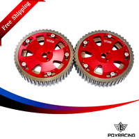 PQY RACING Free Shipping 2pcs Cam Gears Pulley For MITSUBISHI EVO 1 2 3 4 5