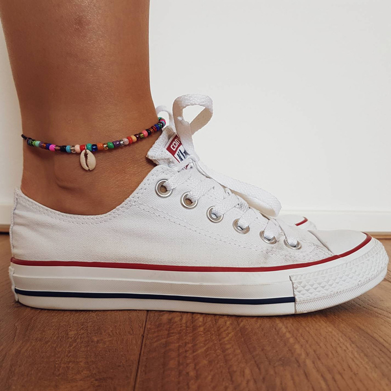 New Bead Anklets for Women Shell Foot Jewelry Silver Color Spiral Pendant Bracelet Ankle on Leg Female Ankle Strap Jewelry