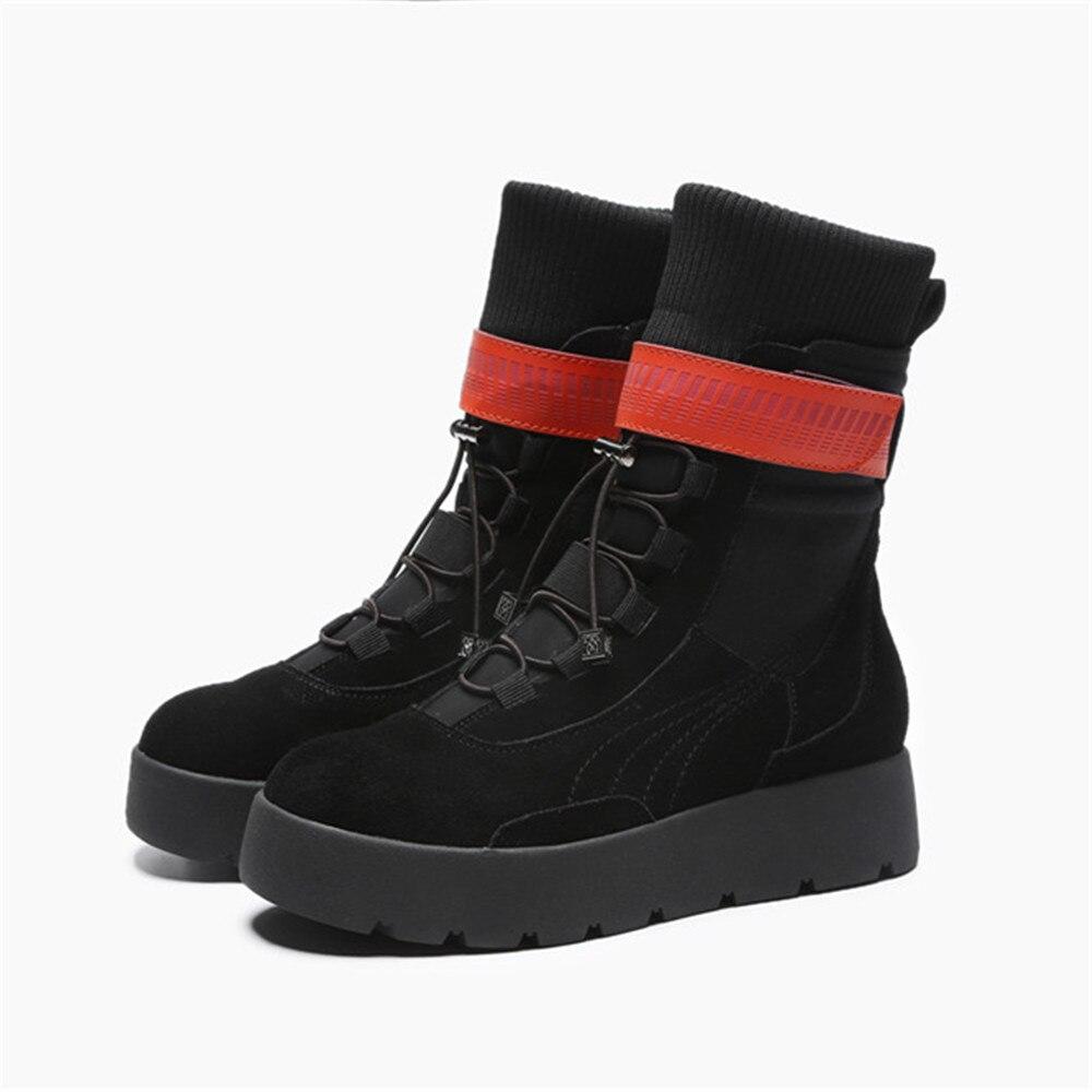 Western hiver Talon En Insicre Black mollet Femmes Nouveau Med Automne up Mode Mi 2018 Bottes Style brown Daim Vache Dentelle Chaussures BqqPwSOUx