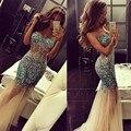 Lujos de La Promoción 2016 de la sirena vestido de Fiesta Elegante Ver A Través de Novia Rhinestone Cristales vestido de Huésped de la boda Vestidos de Baile